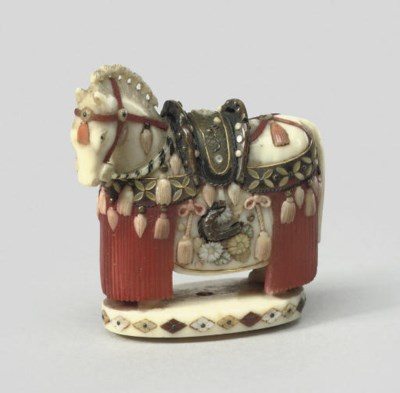 An ivory model of a Horse, sig