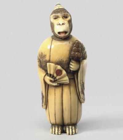 An ivory study of a monkey Sam