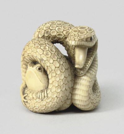 An ivory group of a snake, lat