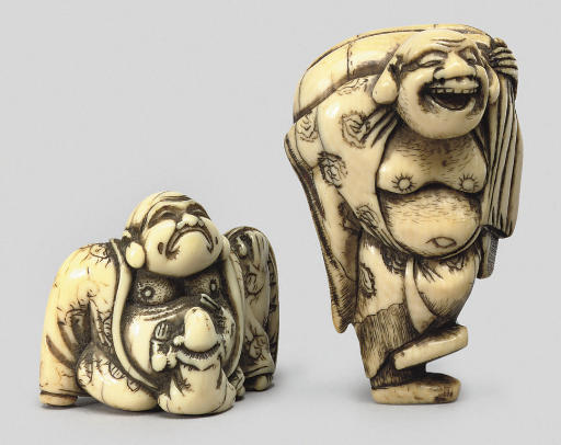 Two ivory models of Hotei, 18t
