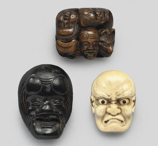 A group of three mask netsuke,