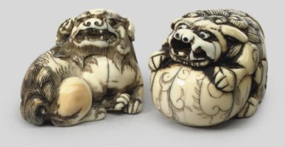 Two ivory netsuke of Shishi, 1