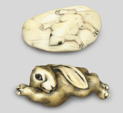 Two ivory studies of a frog an