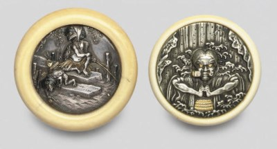 Two silver Manju netsuke, 19th