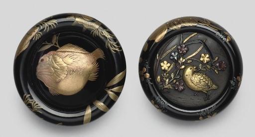 Two lacquer kagamibuta netsuke