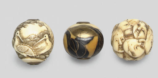Three ivory ojime, 19th Centur
