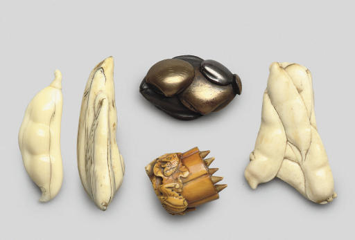 A group of four netsuke and on