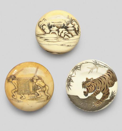 Three ivory manju netsuke, ear