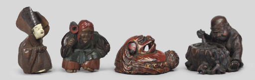 A group of four netsuke, 19th