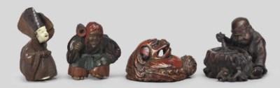 A group of four netsuke, 19th
