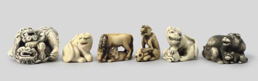 A group of six ivory animalier