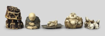 A group of eight ivory studies