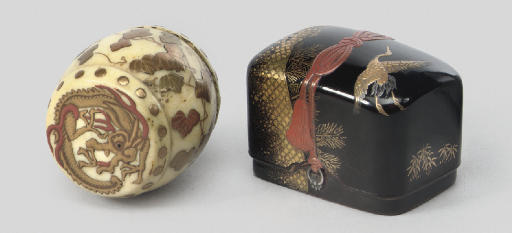 Two lacquer decorated netsuke,