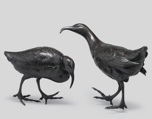 Two bronze models of curlew, s
