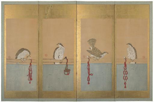 A FOUR FOLD SCREEN, 19TH CENTU