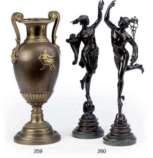 A PAIR OF FRENCH BRONZE FIGURES OF MERCURY AND FORTUNE
