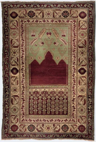 A fine antique Agra prayer rug