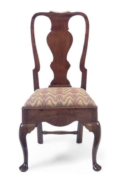 A WALNUT SIDE CHAIR
