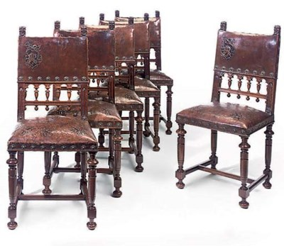 A SET OF SIX ITALIAN WALNUT DI