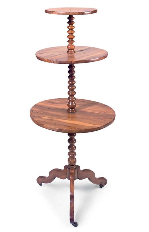 A FRENCH YEW WOOD THREE-TIER D