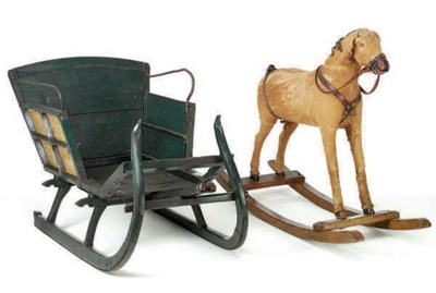 A GREEN-PAINTED SLEIGH