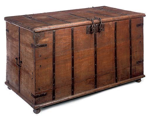 A LARGE IRON BOUND TEAK CHEST