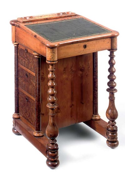 A VICTORIAN YEW WOOD AND BURR-