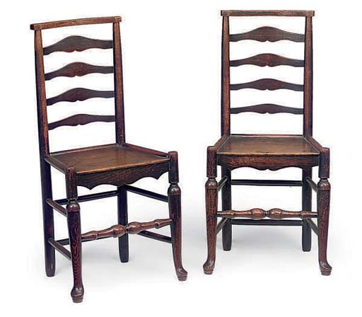 A PAIR OF LANCASHIRE ASH LADDE