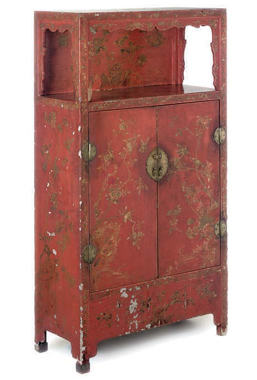 A CHINESE RED LACQUERED AND GI