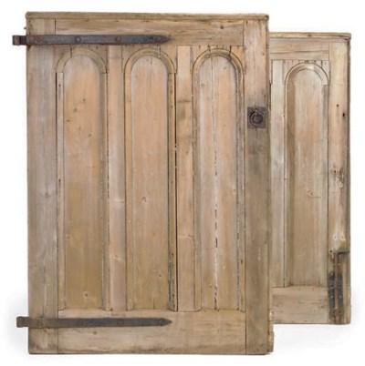 A PAIR OF WIDE PINE DOORS