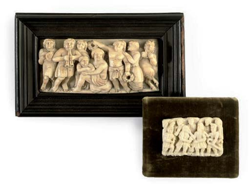 A CONTINENTAL IVORY RELIEF OF
