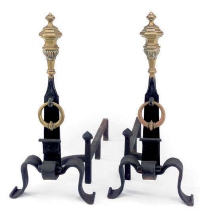 A PAIR OF BRASS AND WROUGHT IR