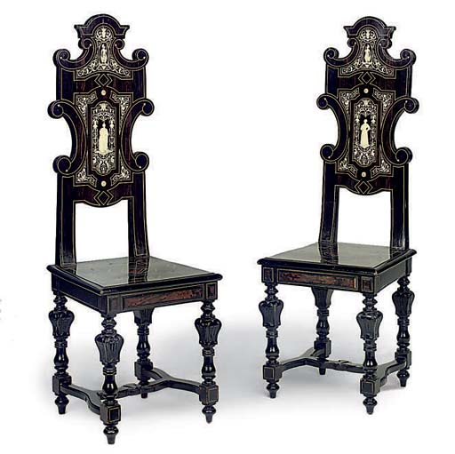A PAIR OF MILANESE IVORY INLAI