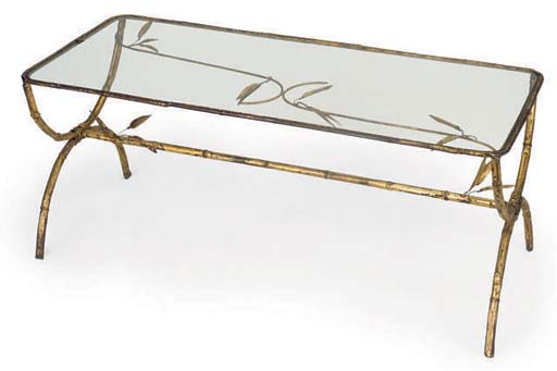 A FRENCH GILT METAL LOW TABLE