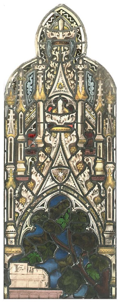 A STAINED AND LEADED GLASS WIN
