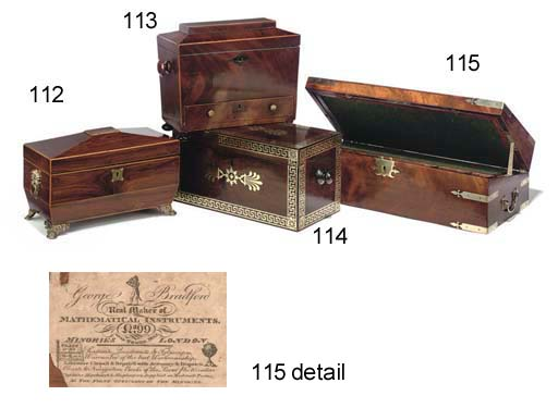 A LATE GEORGE III BRASS-BOUND MAHOGANY WRITING SLOPE