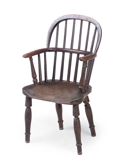 A VICTORIAN YEW WOOD AND ELM C