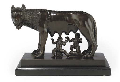 A ITALIAN BRONZE GROUP OF THE