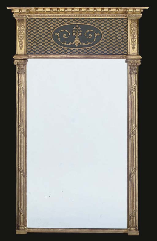 A GILTWOOD AND DARK GREEN PAINTED PIER MIRROR
