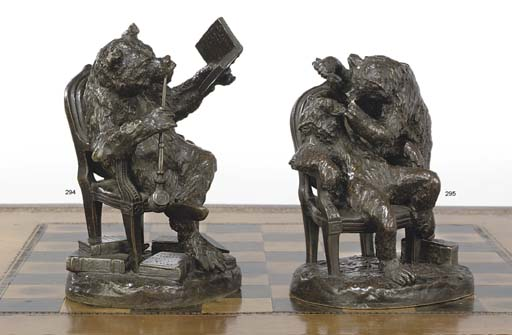 A FRENCH BRONZE 'LITERARY BEAR'