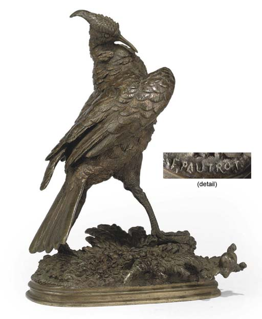 A FRENCH BRONZE MODEL OF A GAME BIRD