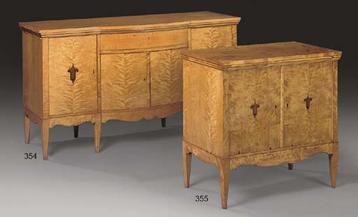 A BIRCH AND MARQUETRY COMMODE