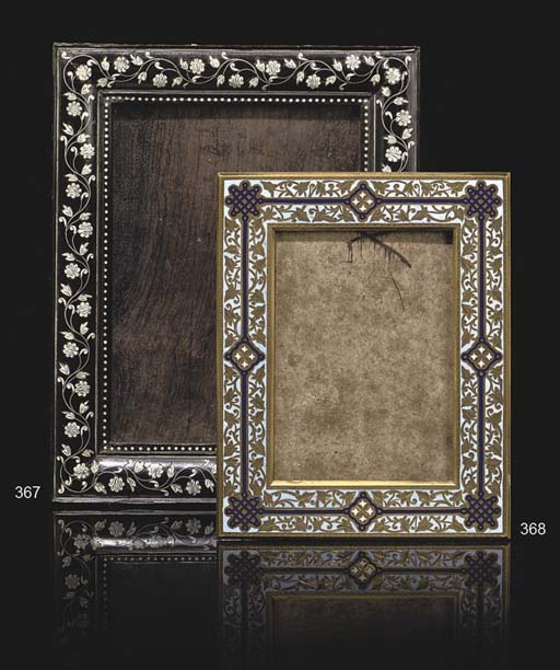 A FRENCH GILT BRASS AND CHAMPLEVE ENAMEL PHOTOGRAPH FRAME