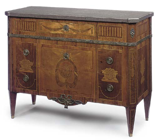 A SWEDISH GILT-METAL MOUNTED MAHOGANY ROSEWOOD AND MARQUETRY COMMODE