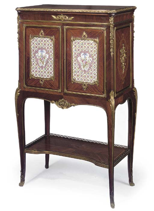 A NAPOLEON III GILT METAL AND PORCELAIN MOUNTED AND MARQUETRY SIDE CABINET