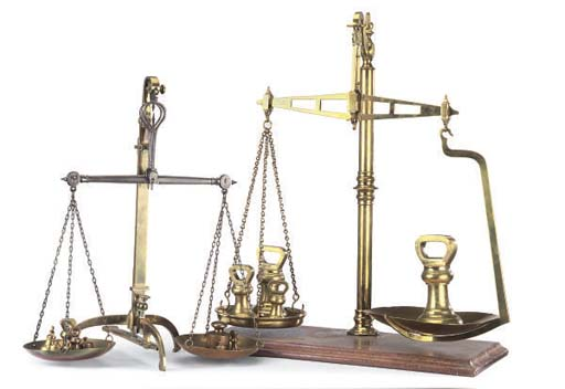 TWO BRASS BALANCE SCALES