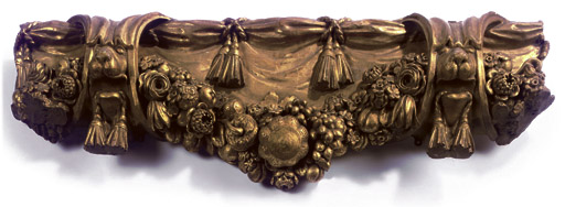 A LATE VICTORIAN CARVED GILTWOOD OVER MANTEL OR A BED CANOPY MANTEL