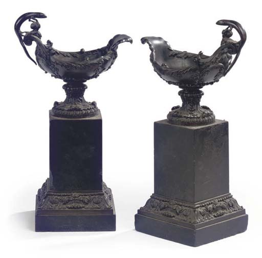 A PAIR OF FRENCH BRONZE AND BL