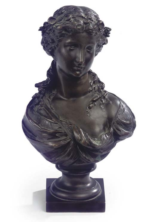 A FRENCH BRONZE BUST OF A LADY