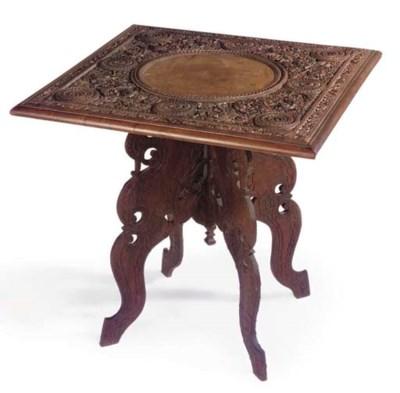 A BURMESE CARVED HARDWOOD TABL